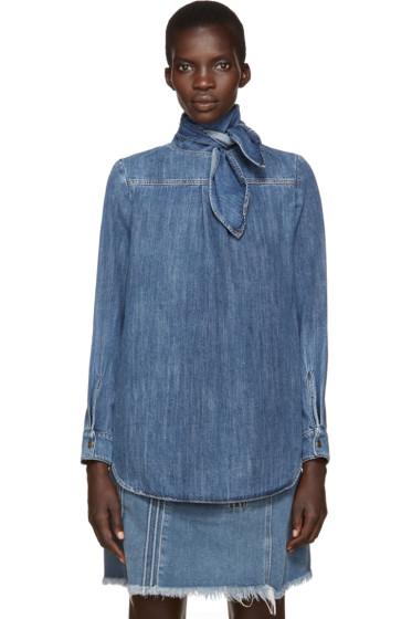 Chloé - Blue Denim Neck Tie Shirt