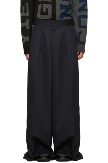 Juun.J - Navy Wool Wide-Leg Trousers