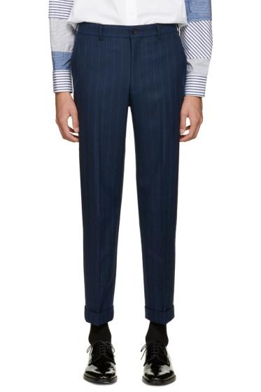 Comme des Garçons Homme Plus - Navy Wool Striped Trousers