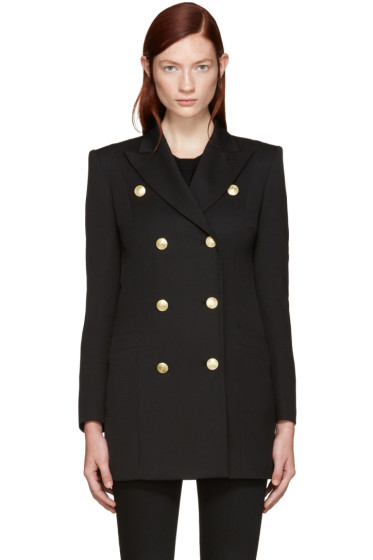 Pierre Balmain - Black Gold Buttons Double-Breasted Blazer