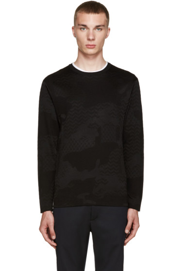 Neil Barrett - Black Jacquard Camo Sweater