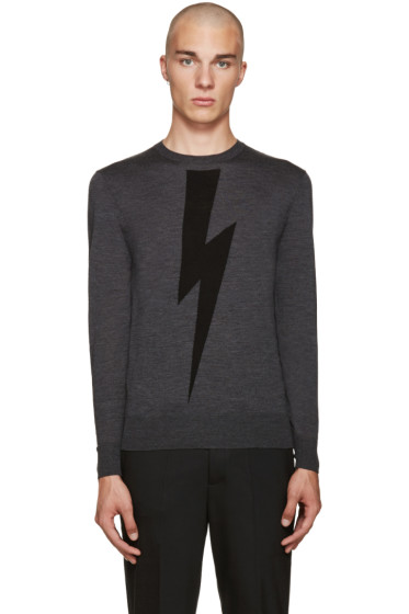 Neil Barrett - Grey Thunderbolt Sweater