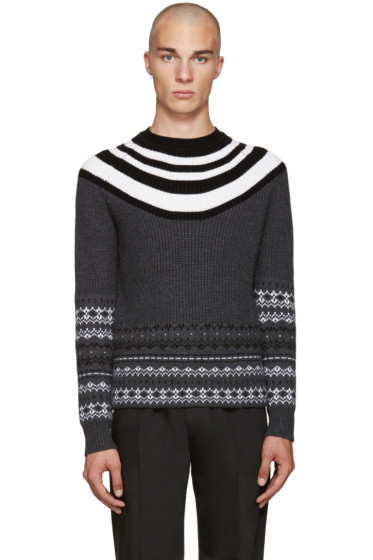 Neil Barrett - Grey Retro Fair Isle Sweater