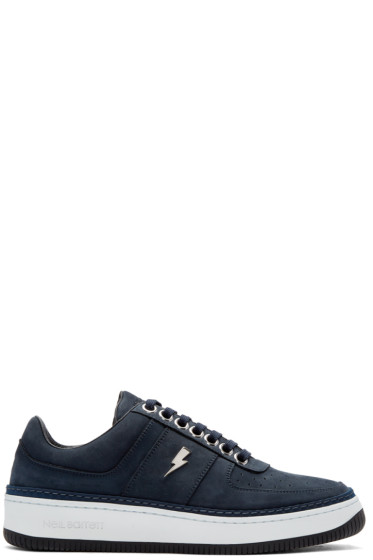 Neil Barrett - Navy Suede City Basketball Sneakers