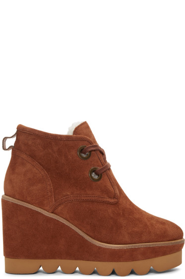 See by Chloé - Brown Suede Wedge Boots
