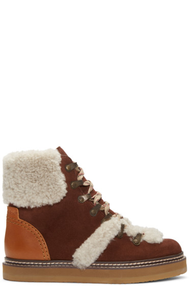 See by Chloé - Brown Lace-Up Ski Boots