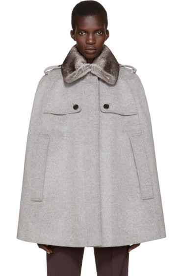 Burberry - Grey Fur Collar Wolesley Cape