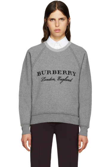 Burberry - Grey Wool Logo Sweater