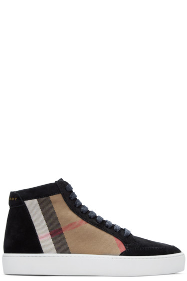 Burberry - Black Salmond Check High-Top Sneakers