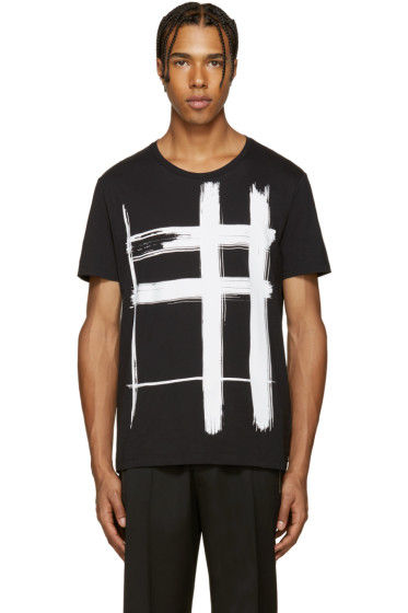Burberry - Black Check Print T-Shirt