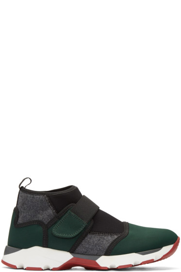 Marni - Green Neoprene High-Top Sneakers