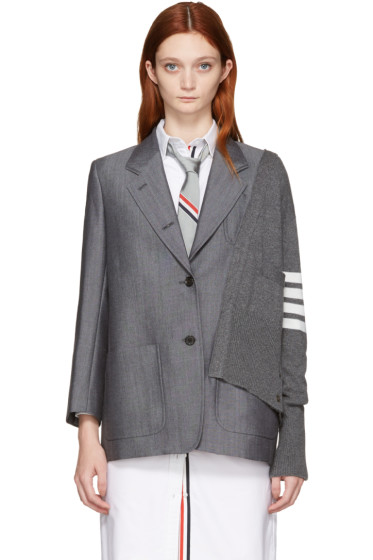 Thom Browne - Grey Reconstructed Cardigan Blazer