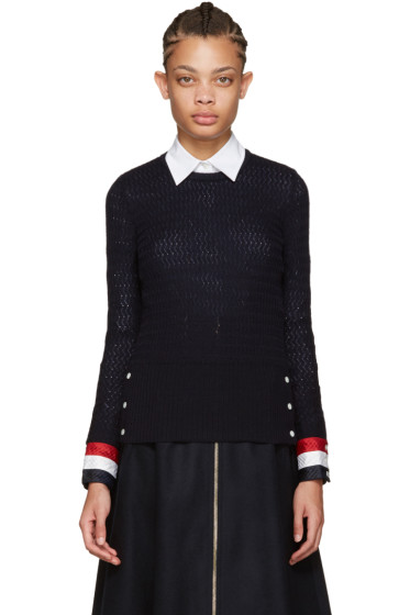 Thom Browne - Navy Wool Sweater