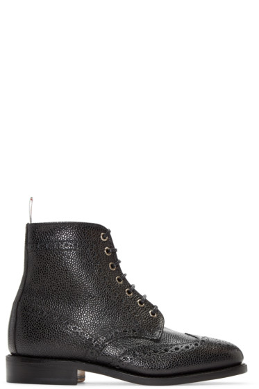 Thom Browne - Black Leather Wingtip Boots