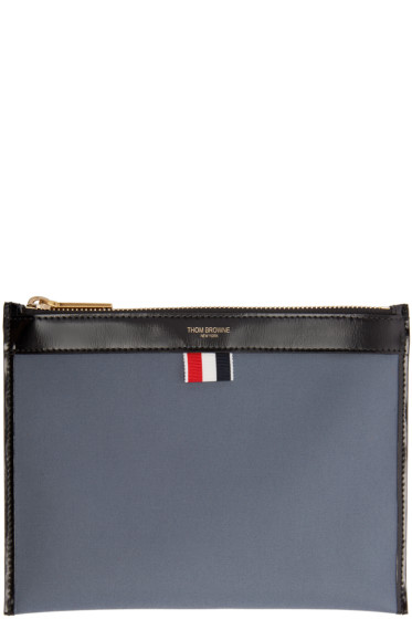 Thom Browne - Grey Twill Large Pouch
