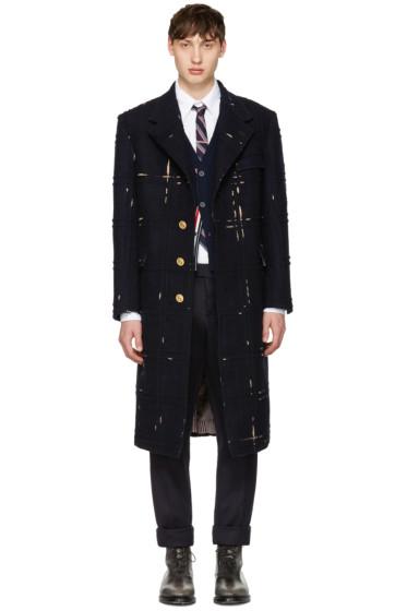 Thom Browne - Navy Tartan Wide Shoulder Chesterfield Coat