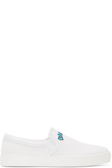Kenzo - White Canvas Slip-On Sneakers