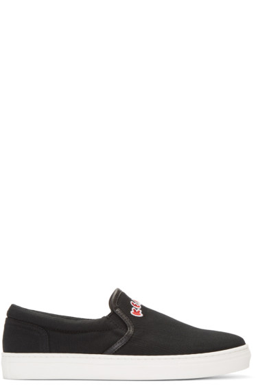 Kenzo - Black Canvas Slip-On Sneakers