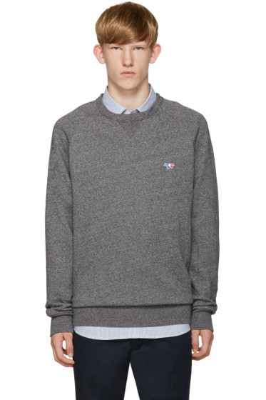 Maison Kitsuné - Grey Embroidered Pullover
