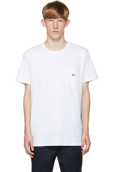 Maison Kitsuné - White Embroidered Pocket T-Shirt