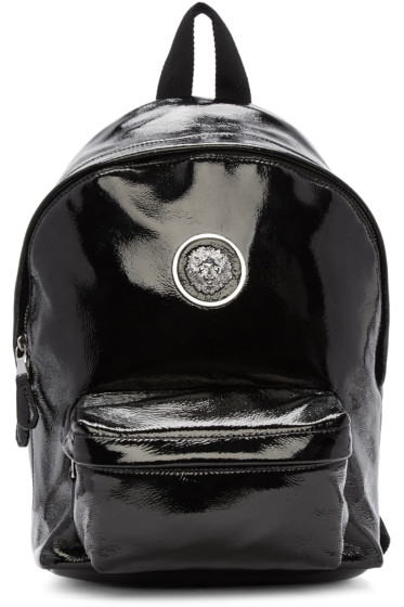 Versus - Black Laminated Leather Logo Backpack