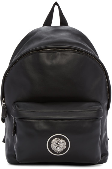 Versus - Black Leather Logo Backpack