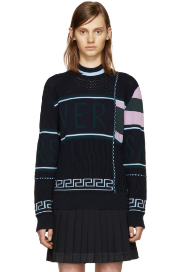 Versace - Navy Wool Logo Sweater