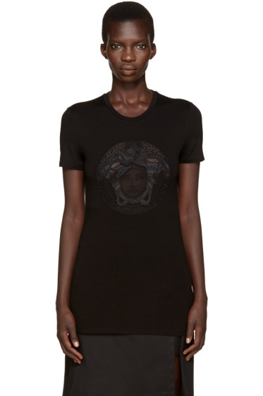 Versace - Black Embroidered T-Shirt