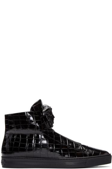 Versace - Black Croc-Embossed Medusa High-Top Sneakers