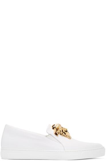 Versace - White Leather Medusa Slip-On Sneakers