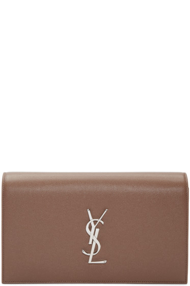 Saint Laurent - Brown Monogram Kate Clutch