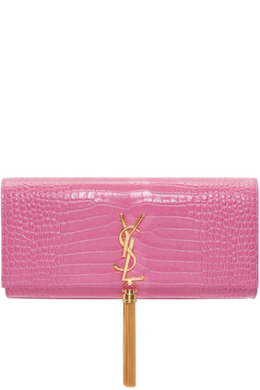 Saint Laurent - Pink Croc-Embossed Kate Tassel Clutch