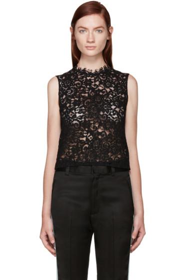 Saint Laurent - Black Floral Lace Blouse