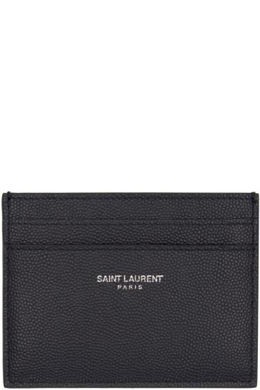 Saint Laurent - Navy Leather Card Holder