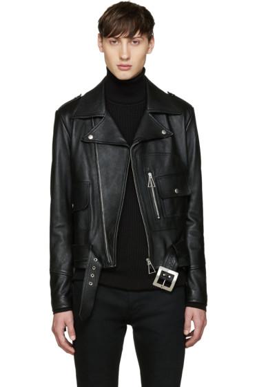 Saint Laurent - Black Leather Fringed Jacket