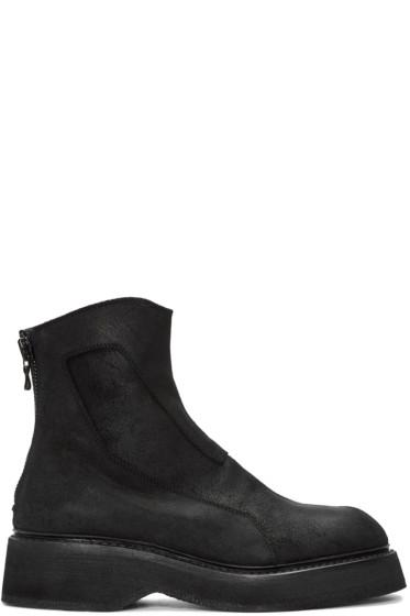 Julius - Black Suede Zip Boots