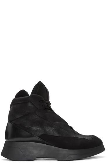 Julius - Black Coated High-Top Sneakers