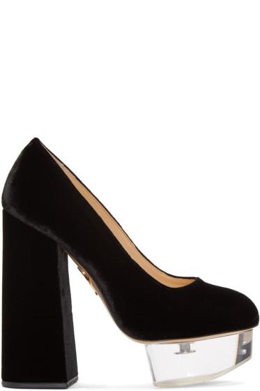 Charlotte Olympia - Black Velvet & Perspex Alix Heels