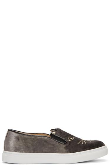 Charlotte Olympia - Grey Velvet Cool Cats Slip-On Sneakers
