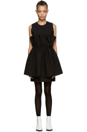 MSGM - Black Waist Ruffle Dress