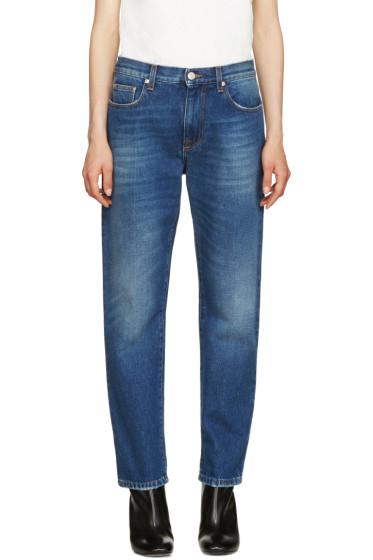 MSGM - Blue Fur Appliqué Jeans