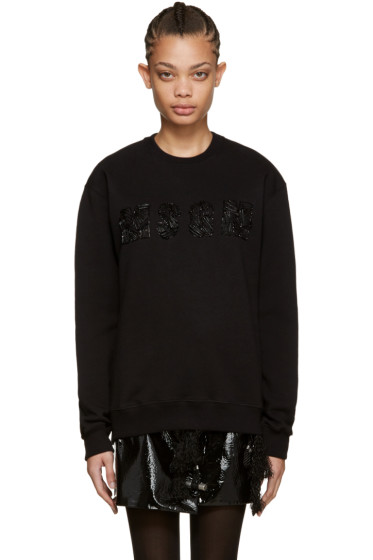 MSGM - Black Safety Pin Logo Sweatshirt