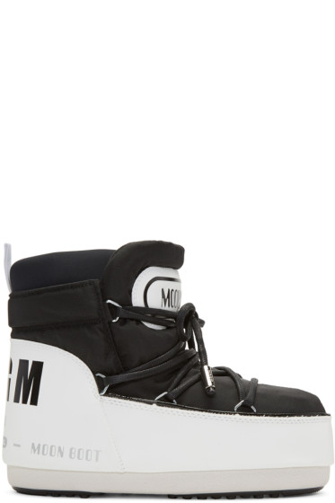 MSGM - Black & White Moon Boot Edition Boots