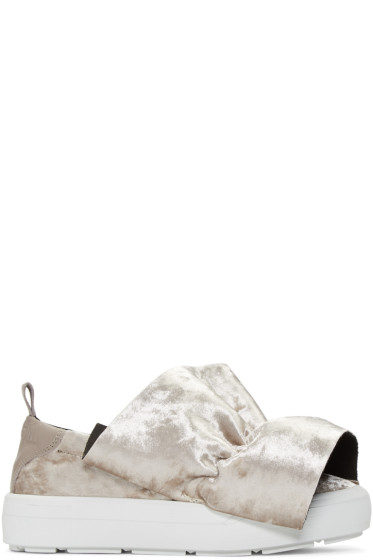 MSGM - Taupe Velvet Ruched Trim Slip-On Sneakers