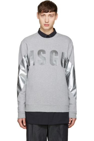 MSGM - Grey Metallic Logo Sweatshirt
