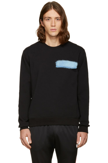 MSGM - Black Fur Patch Sweatshirt