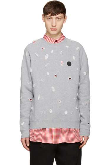 MSGM - Grey Distressed Sweatshirt