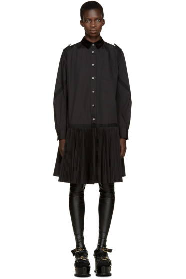 Sacai - Black Velvet Collar Pleated Dress