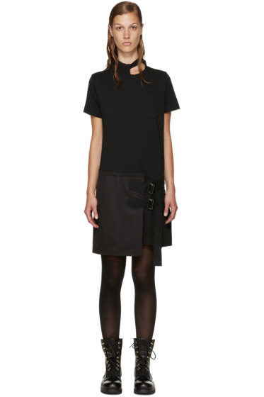 Sacai - Black Belted T-Shirt Dress