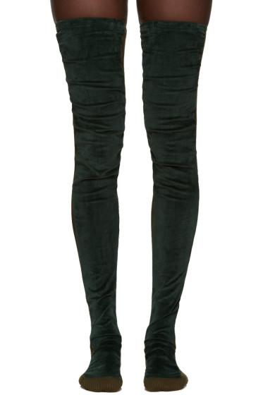 Sacai - Green Tall Velvet Socks